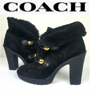 Coach Lenora Black Suede Shearling Ankle Booties